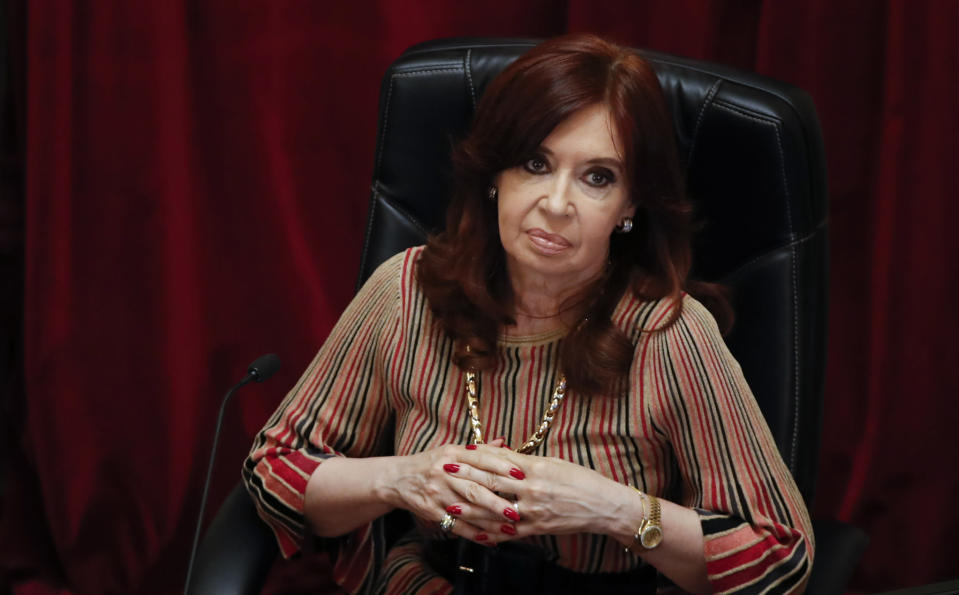 Senate President and Argentina's Vice President Cristina Fernandez attends the debate of a bill that would legalize abortion, inside Congress in Buenos Aires, Argentina, Tuesday, Dec. 29, 2020. (AP Photo/Natacha Pisarenko)