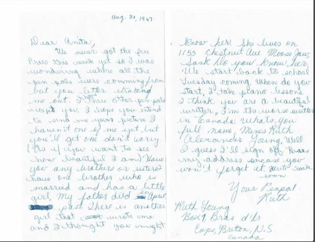This is the first letter Boudreau sent to her pen pal in Saskatchewan in 1967.