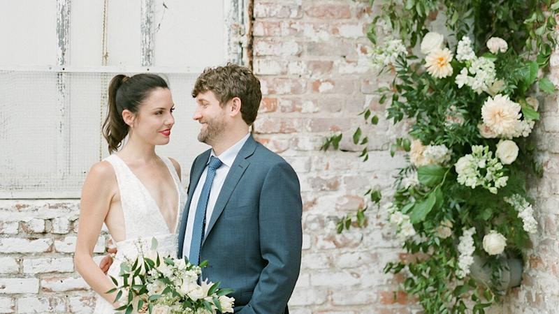 """The Motto of This Intimate Industrial Warehouse Wedding? """"Flowers Everywhere!"""""""