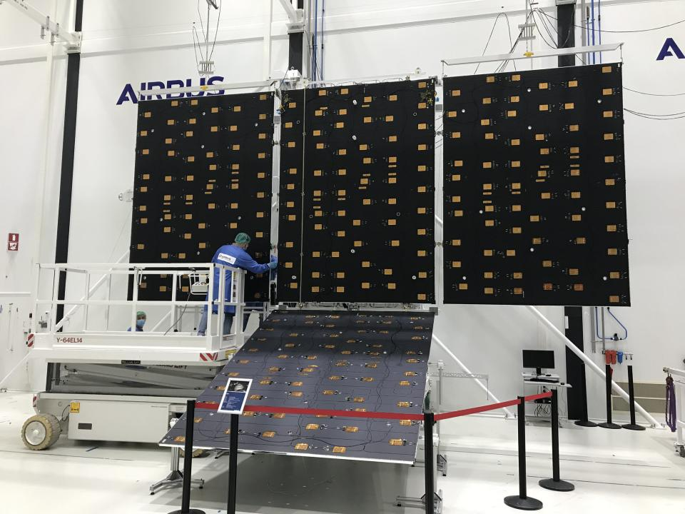The ten solar panels for the European Space Agency's Juice (Jupiter Icy Moons Explorer) spacecraft are ready to be turned into solar wings. The panels arrived at Airbus Defense and Space in the Netherlands and, with five solar panels on each side of the spacecraft, the panels will fold up inside the launcher and then eventually deploy like wings for the probe.