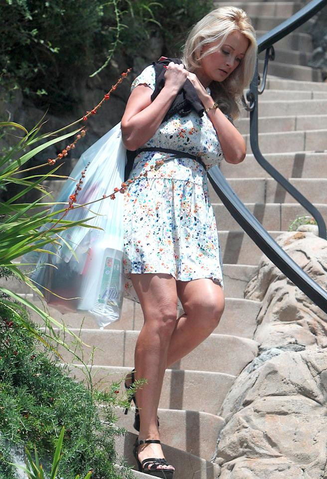 Look! Even beautiful celebrities have to take out their own trash! Former Playboy Playmate and new mom Holly Madison was spotted lugging a load of garbage out to the curb on her way to lunch on Thursday. (5/9/2013)