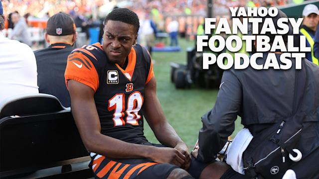 "<a class=""link rapid-noclick-resp"" href=""/nfl/teams/cincinnati/"" data-ylk=""slk:Cincinnati Bengals"">Cincinnati Bengals</a> WR A.J. Green is injured again. Liz Loza and <a class=""link rapid-noclick-resp"" href=""/pga/players/9217/"" data-ylk=""slk:Matt Harmon"">Matt Harmon</a> discuss the fantasy impact on the lates Yahoo Fantasy Football Podcast. (Photo by Ian Johnson/Icon Sportswire via Getty Images)"