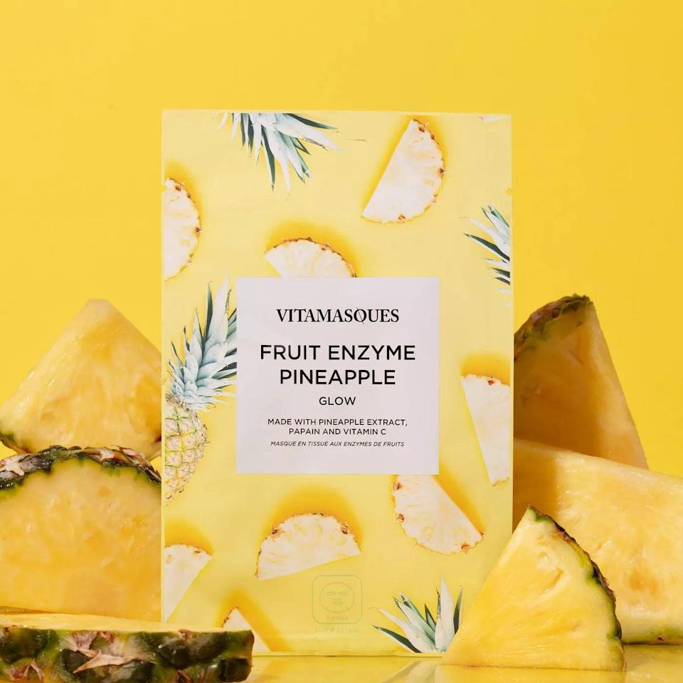<p>The <span>Vitamasques Fruit Enzyme Pineapple Sheet Mask</span> ($3) will give you glowing skin. It is made with pineapple extract and papain to gently exfoliate, and vitamin C and hyaluronic acid to brighten and hydrate.</p>