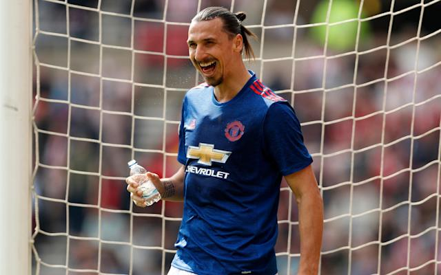 <span>Zlatan Ibrahimovic takes a water break on a hot day in the North East</span> <span>Credit: Reuters </span>