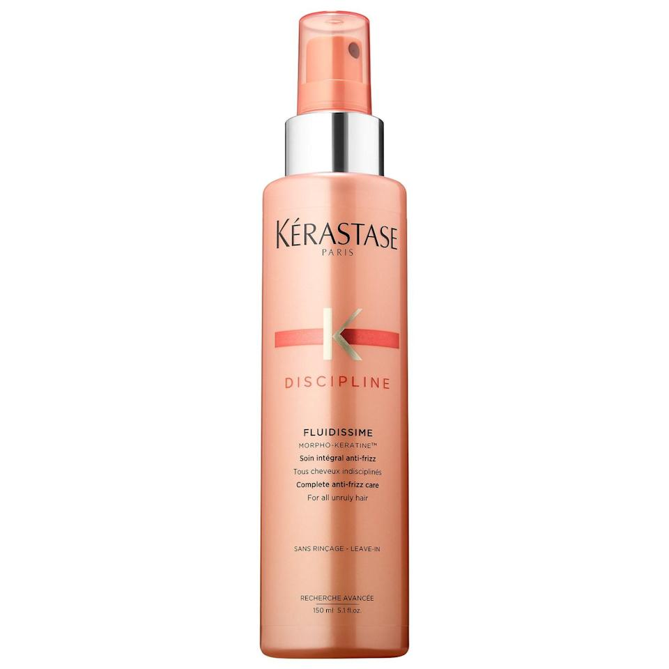 "<h3><strong>Kérastase</strong> Discipline Anti Frizz Smoothing Spray</h3> <br><strong>Best For Heat Styling</strong><br><br>Engaging in unprotected heat sessions with your hair can end in a blow-fried disaster — especially if your strands are naturally curly. If you're giving up the heat to embrace your curls, using this leave-in will ensure that your hair is silky and frizz-free, even while it's in recovery mode. If you're not yet ready to give up the hot tools, you can also use some of this to protect your hair from heat up to 450 degrees.<br><br><strong>Kérastase</strong> Discipline Anti Frizz Smoothing Spray, $, available at <a href=""https://go.skimresources.com/?id=30283X879131&url=https%3A%2F%2Fwww.sephora.com%2Fproduct%2Fdiscipline-anti-frizz-smoothing-spray-P434417%3FskuId%3D2127041%26om_mmc%3Dppc-GG_1165716899_53825941100_pla-420321925113_2127041_257731950185_9067609_c%26country_switch%3Dus%26lang%3Den%26ds_rl%3D1261471%26gclid%3DEAIaIQobChMI9sOBy_aY4AIVy5yzCh01SgBlEAQYBSABEgIJN_D_BwE%26gclsrc%3Daw.ds"" rel=""nofollow noopener"" target=""_blank"" data-ylk=""slk:Sephora"" class=""link rapid-noclick-resp"">Sephora</a><br><br><br>"