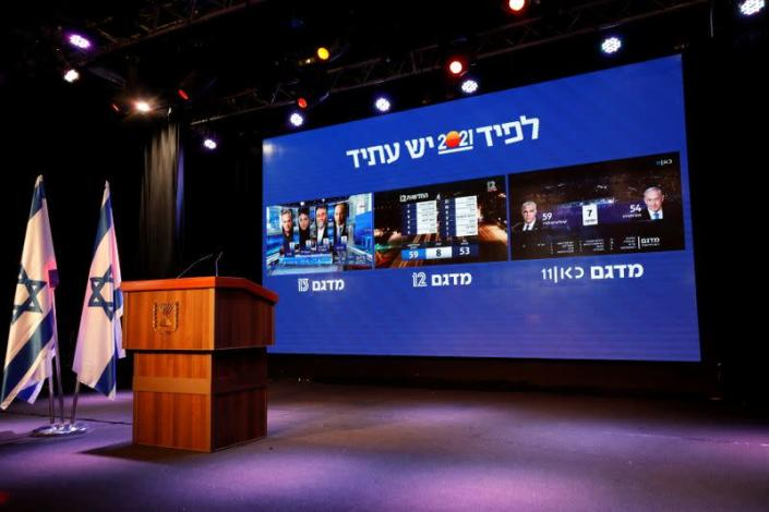 The results of the exit polls in Israel's general election are shown on a screens at Yair Lapid's Yesh Atid party headquarters in Tel Aviv