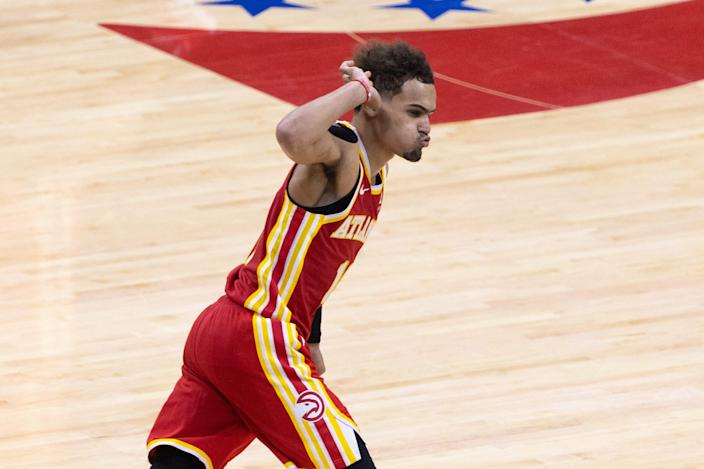 Atlanta Hawks guard Trae Young reacts after scoring against the Philadelphia 76ers during the fourth quarter of Game 5.