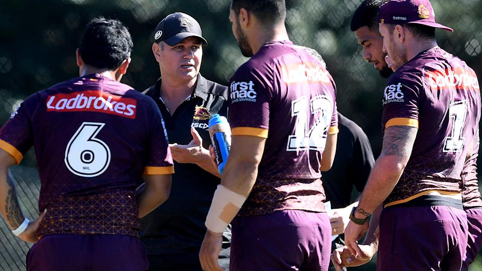 Anthony Seibold, pictured here speaking to Brisbane Broncos players at training.