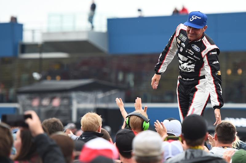 BROOKLYN, MICHIGAN - JUNE 09: Clint Bowyer, driver of the #14 Haas Automation/ITsavvy Ford, participates in pre-race ceremonies during the Monster Energy NASCAR Cup Series FireKeepers Casino 400 at Michigan International Speedway on June 09, 2019 in Brooklyn, Michigan. (Photo by Stacy Revere/Getty Images)