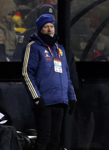 Sweden coach Peter Gerhardsson watches his team play against the United States during the second half of a women's international friendly soccer match in Columbus, Ohio, Thursday, Nov. 7, 2019. (AP Photo/Paul Vernon)