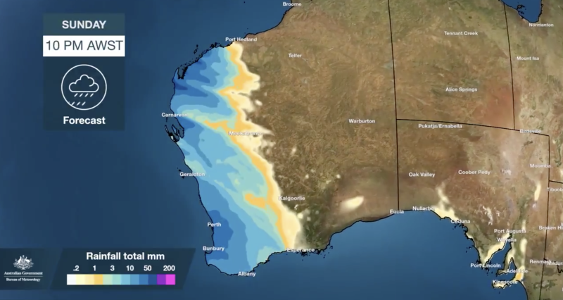 A weather map shows rainfall across Western Australia up until 10pm Sunday.