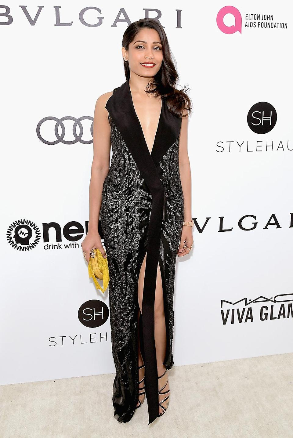 <p>Freida Pinto attends the 25th Annual Elton John AIDS Foundation's Academy Awards Viewing Party with cocktails by Clase Azul Tequila and Chopin Vodka at The City of West Hollywood Park on February 26, 2017 in West Hollywood, California. (Photo by Charley Gallay/Getty Images for Clase Azul Tequila and Chopin Vodka) </p>