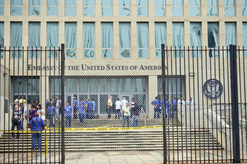 Personnel gather at the U.S. Embassy in Cuba on Sept. 29, 2017, in Havana. (Sven Creutzmann/Mambo Photo via Getty Images)
