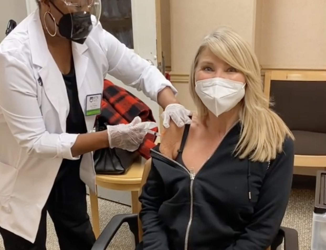 Christie Brinkley is one of many celebrities to post about getting her COVID-19 vaccine and to encourage others to follow her lead. But does that actually help? (Photo: Instagram)
