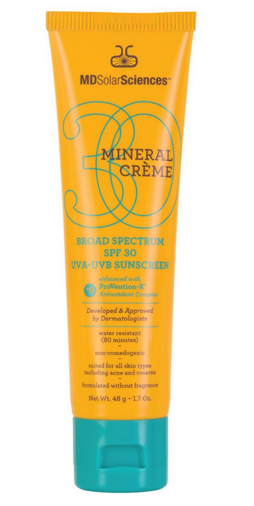 """<p>Slightly tinted, this sunscreen almost acts as a BB cream, leaving your skin with a matte finish. <br /><br /><a rel=""""nofollow"""" href=""""https://www.mdsolarsciences.com/product.cfm?productID=82#.VVjYwdpViko"""">MD Solar Sciences Mineral Crème Broad Spectrum SPF 30 </a>($30) <br /><br /></p>"""