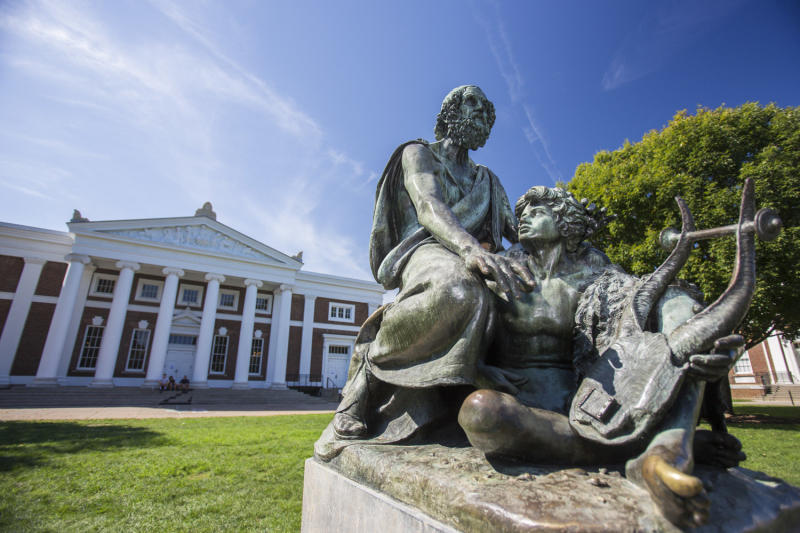 A statue of the Greek philosopher Homer sits on the south side of the Lawn at the University of Virginia. About 60 professors, lecturers and administrators met at the statue recently to discuss the fallout from a white supremacist rally on campus.