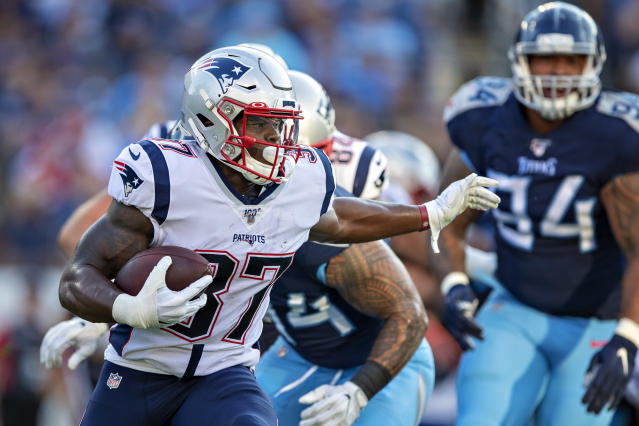 Patriots running back Damien Harris has a solid floor to work with and the potential for much more if things fall his way. (Photo by Wesley Hitt/Getty Images)