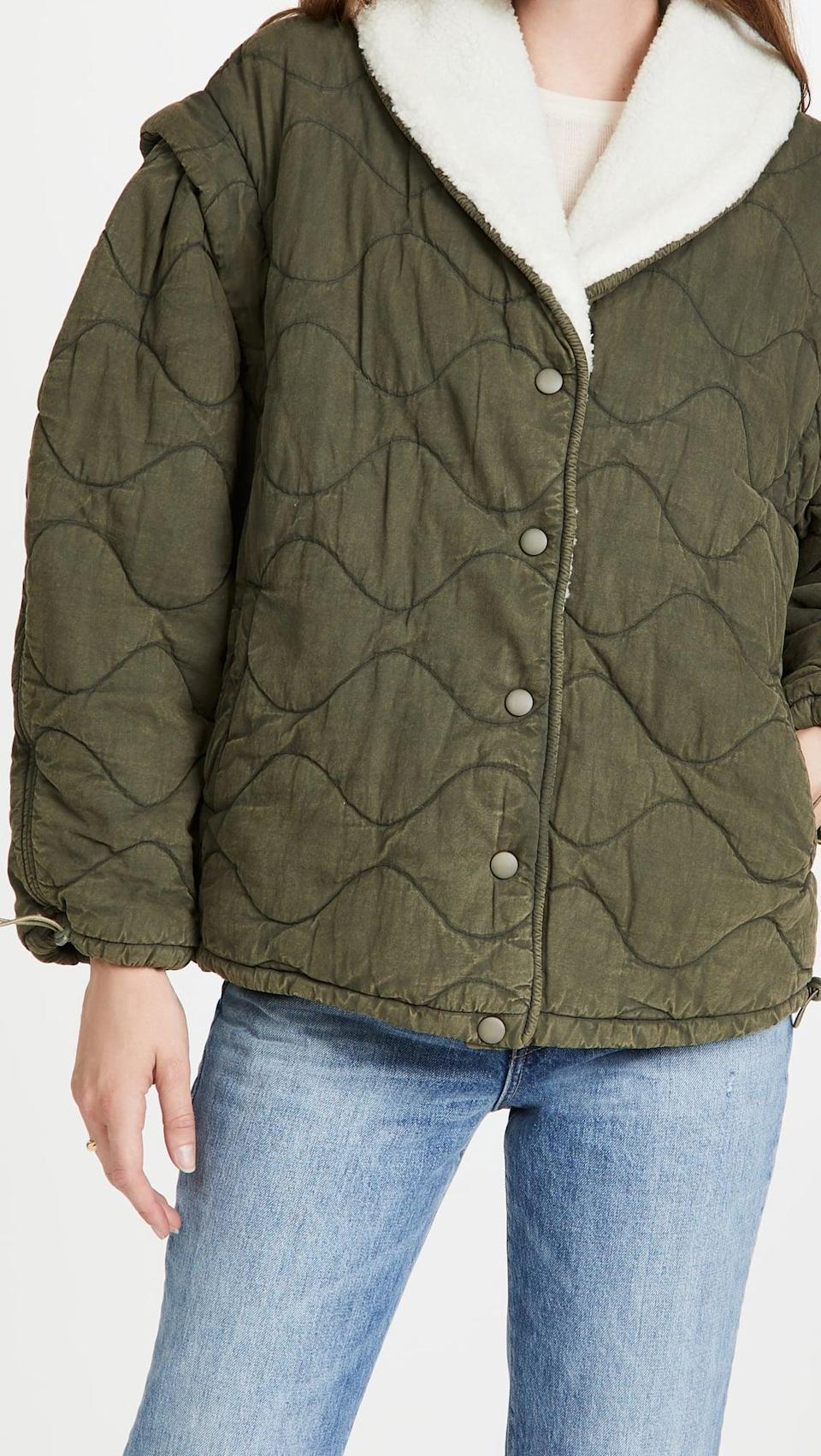 """<p>""""Rather than stretching my budget across multiple new coats this fall and winter, I'm limiting myself to buying only one, and this <span>Sea Layla Quilted Puffer Jacket</span> ($495) is it. I love that it taps into the army-green quilted-jacket trend, but the sherpa lining sets it apart. I also like how versatile it is and can already envision it worn over everything from sweat sets to jeans to dresses and boots."""" - SN</p>"""