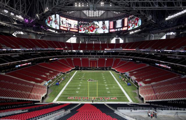 Mercedes-Benz Stadium is almost ready for business. (AP Photo/David Goldman)