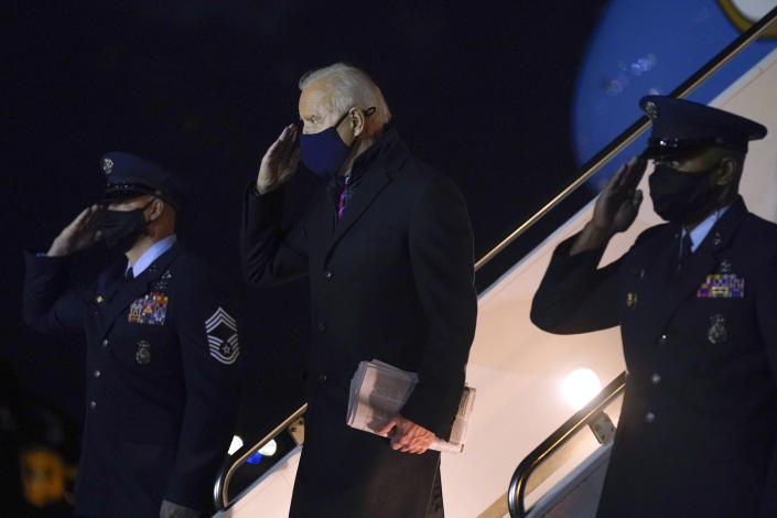 President Joe Biden steps off Air Force One at New Castle Airport in New Castle, Del., Friday, Feb. 5, 2021. Biden is spending the weekend at his home in Delaware. (AP Photo/Patrick Semansky)