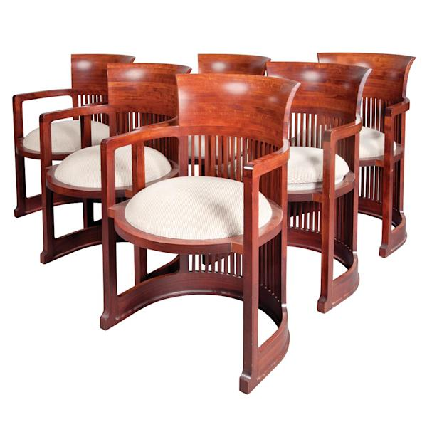 This undated photo provided by Doyle New York shows chairs designed by Frank Lloyd Wright, which belonged to former Mayor Ed Koch, and will now be sold at auction. Furniture, decorations and art from Koch's Greenwich Village apartment are being offered Monday, Nov. 18, 2013 by Doyle New York. The three-term mayor's letters and books will go on sale Nov. 25. Koch died in February at the age of 88. (AP Photo/Doyle New York)