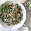 """<p>Turn this healthy spinach salad recipe into a hearty vegetarian dinner with homemade pita chips or boiled potatoes. Look for mild-flavored green garlic at the farmers' market in late spring. Or use 1/4 cup finely chopped scallions plus 1 small minced garlic clove. <a href=""""https://www.eatingwell.com/recipe/257801/greek-style-spinach-salad/"""" rel=""""nofollow noopener"""" target=""""_blank"""" data-ylk=""""slk:View recipe"""" class=""""link rapid-noclick-resp""""> View recipe </a></p>"""