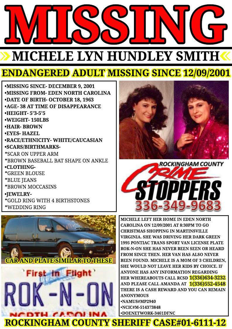 A missing poster for Michele Lyn Hundley Smith.