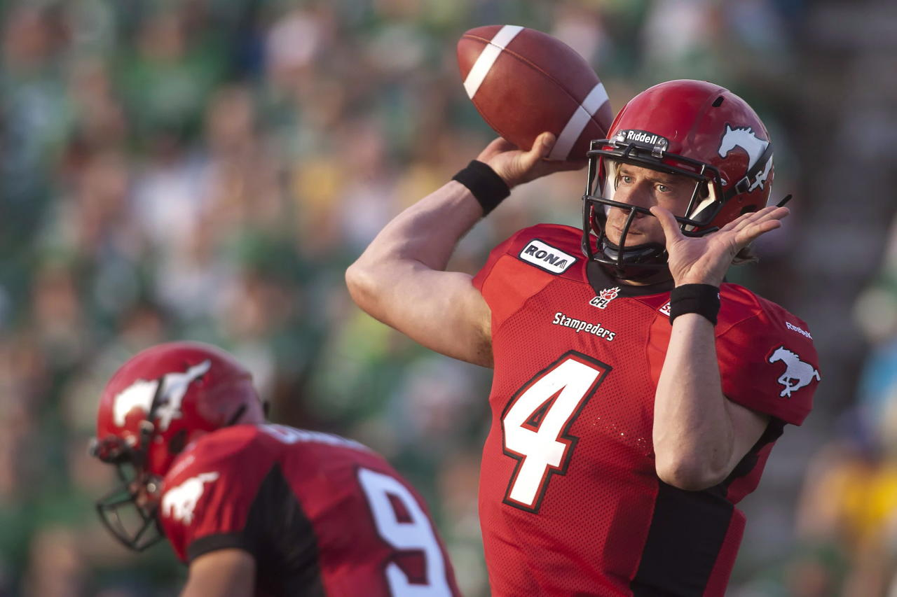 Calgary Stampeders quarterback Drew Tate looks to make a pass during the first half of CFL pre-season football action against the Saskatchewan Roughriders in Regina, Sask., Friday, June 22, 2012. THE CANADIAN PRESS/Liam Richards