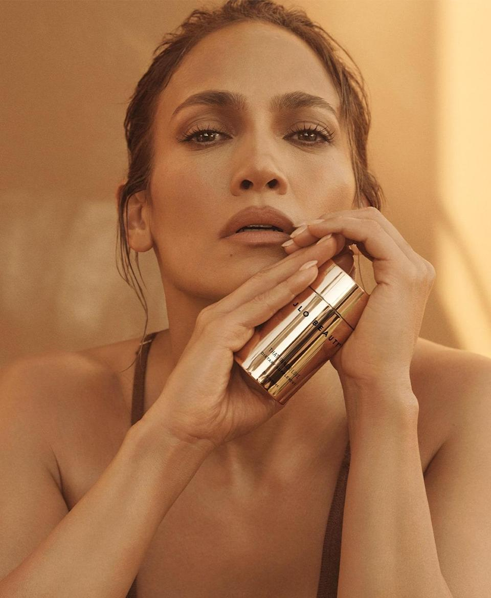 """<p>Jennifer Lopez was <a href=""""https://www.allure.com/story/jennifer-lopez-promise-perfume-interview?mbid=synd_yahoo_rss"""" rel=""""nofollow noopener"""" target=""""_blank"""" data-ylk=""""slk:putting her nickname on fragrances"""" class=""""link rapid-noclick-resp"""">putting her nickname on fragrances</a> nearly 20 years before the launch of JLo Beauty, so the only thing surprising about the superstar breaking into skin care is how long it took. It's not like we weren't all sitting around wondering what the hell we could do to age more like Lopez (read: a little less apparently) for at least a decade, right? But now that we can finally work a little of her magic into our daily routine, there's no turning back. How could we? Like everything else she does, she's worked too hard to not keep it up. """"We went over a hundred rounds of product development to get everything right,"""" she told <em>Allure</em> when the brand <a href=""""https://www.allure.com/story/jennifer-lopez-jlo-beauty-skin-care-review?mbid=synd_yahoo_rss"""" rel=""""nofollow noopener"""" target=""""_blank"""" data-ylk=""""slk:launched in December 2020"""" class=""""link rapid-noclick-resp"""">launched in December 2020</a>. Yep, sounds like JLo. </p> <p><strong>Star product:</strong> Lopez wears a lot of makeup, so we trust that she'd make nothing less than a super effective cleanser, <a href=""""https://shop-links.co/1747579678820280377"""" rel=""""nofollow noopener"""" target=""""_blank"""" data-ylk=""""slk:That Hit Single"""" class=""""link rapid-noclick-resp"""">That Hit Single</a> ($38), to thoroughly remove it. """"It has a beautiful, beautiful texture,"""" she says of the <a href=""""https://www.allure.com/story/jennifer-lopez-makeup-removal-tutorial-evening-skin-care-routine-jlo-beauty?mbid=synd_yahoo_rss"""" rel=""""nofollow noopener"""" target=""""_blank"""" data-ylk=""""slk:gel formula"""" class=""""link rapid-noclick-resp"""">gel formula</a>. </p>"""
