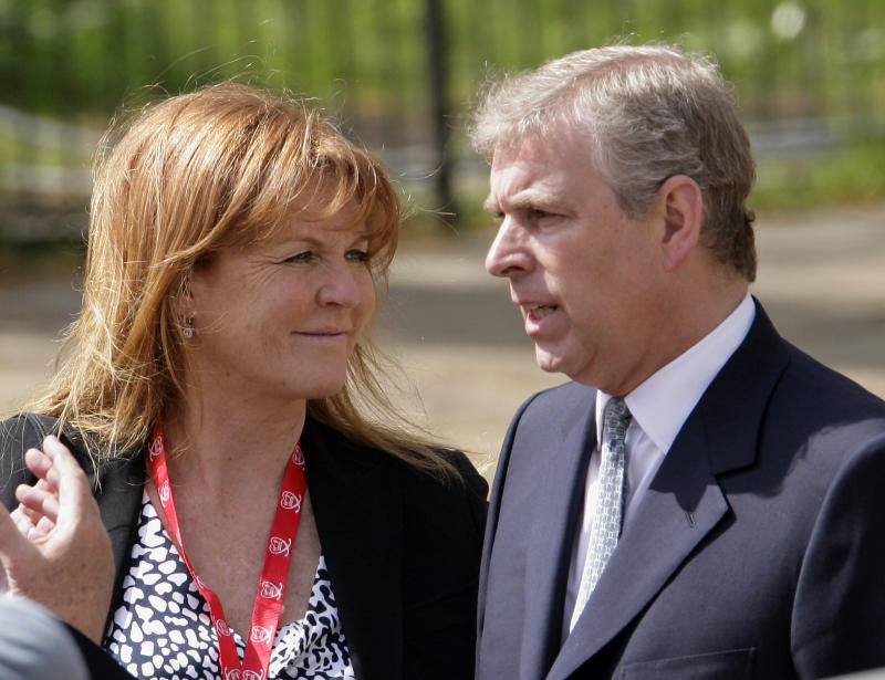 Prince Andrew and Sarah Ferguson looking at each other
