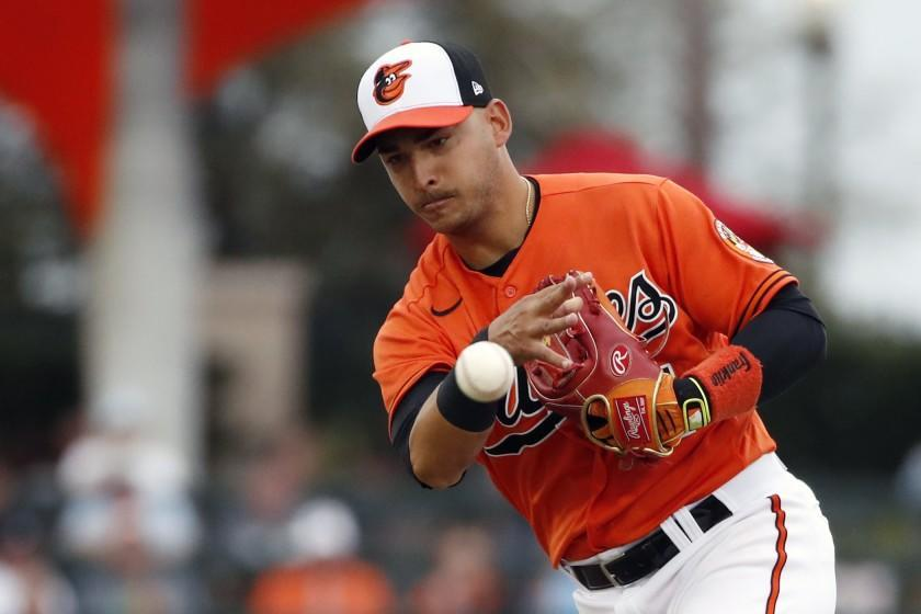 FILE - In this Tuesday, March 10, 2020 file photo, Baltimore Orioles shortstop Jose Iglesias throws to first base during a spring training baseball game against the Atlanta Braves in Sarasota, Fla. The Los Angeles Angels acquired veteran shortstop José Iglesias from the Baltimore Orioles on Wednesday, Dec. 2, 2020 in a trade for minor league right-handers Garrett Stallings and Jean Pinto.(AP Photo/Elise Amendola, File)