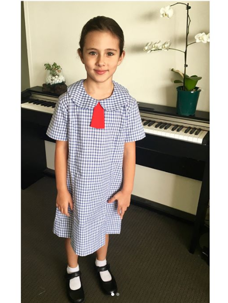 Uniform and all, Scout poses on her first day of primary school. Source: Instagram/@jamestewart