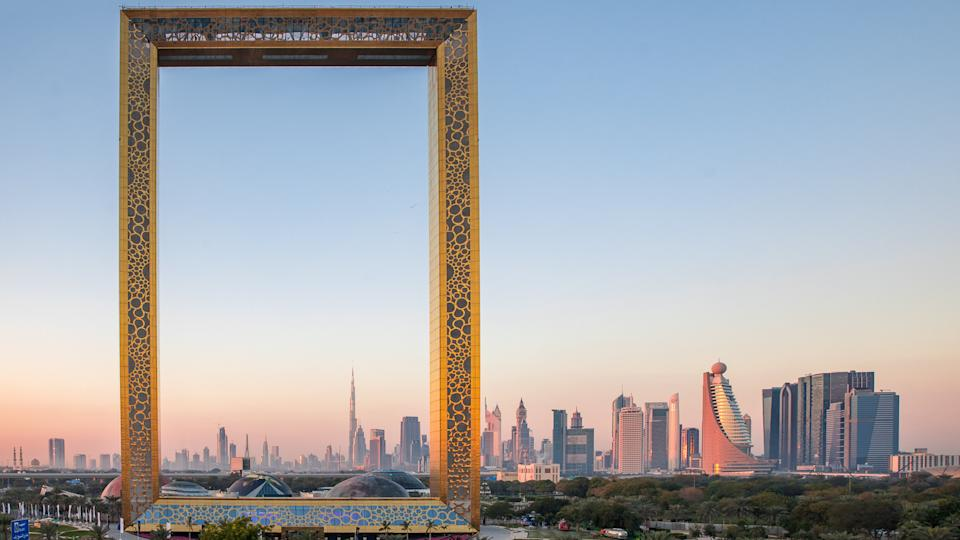 Dubai, United Arab Emirates, January 13th, 2018: Dubai Frame building at sunrise.