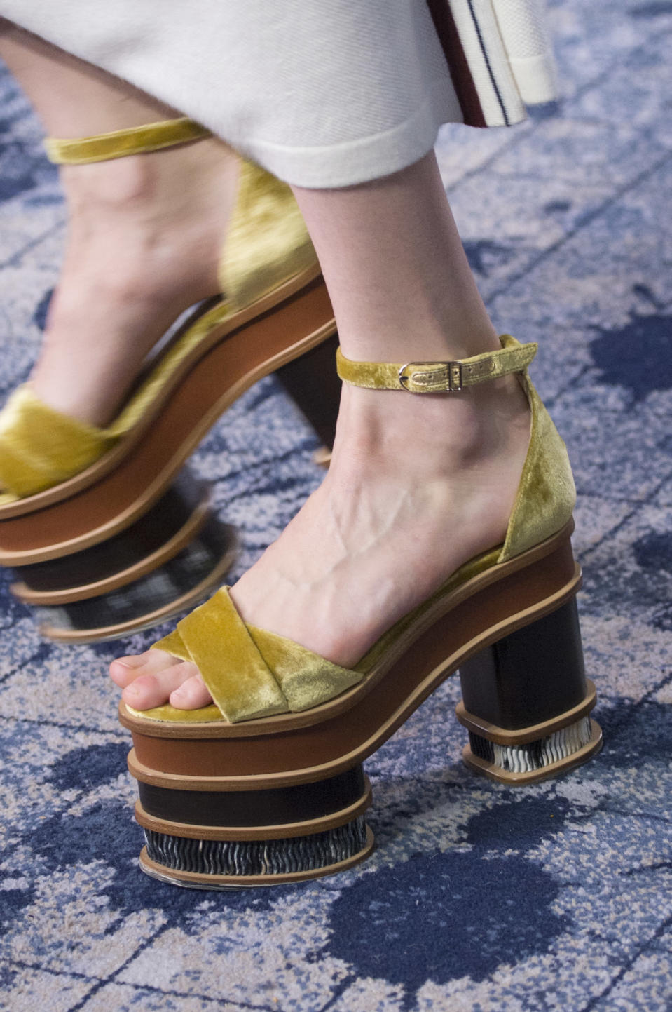 <p><i>Yellow velvet high-platform heels from the SS18 Gabriela Hearst collection. (Photo: ImaxTree) </i></p>