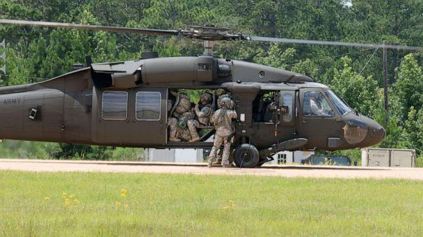 PHOTO: Soldiers with the 76th Infantry Brigade Combat Team, Indiana Army National Guard board a UH-60 Black Hawk helicopter at Joint Readiness Training Center, Fort Polk, Louisiana, July 23, 2017. (U.S. National Guard, FILE)