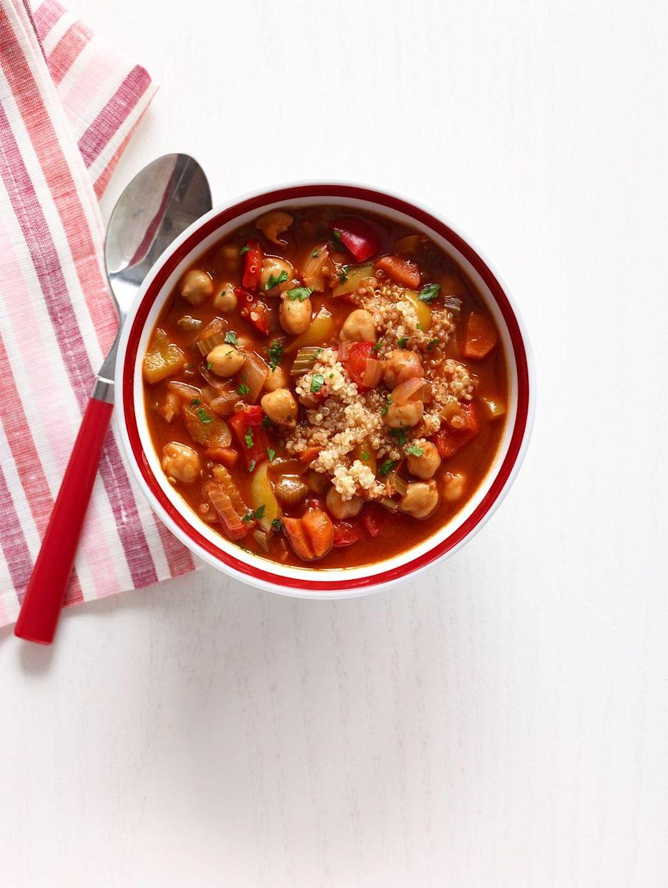 """<p>Not only does quinoa cooks fast, making this a quick meal, but it has a delicious nutty flavor and a ton of protein.</p><p><em><a href=""""http://www.womansday.com/food-recipes/food-drinks/recipes/a12561/chickpea-red-pepper-soup-quinoa-recipe-wdy0214/"""" rel=""""nofollow noopener"""" target=""""_blank"""" data-ylk=""""slk:Get the Chickpea and Red Pepper Soup with Quinoa recipe"""" class=""""link rapid-noclick-resp"""">Get the Chickpea and Red Pepper Soup with Quinoa recipe</a>. </em></p>"""