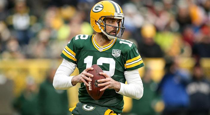 Green Bay Packers quarterback Aaron Rodgers is part of one of the NFL's most compelling rivalries, kicking off the season against Khalil Mack and the Chicago Bears. (Dylan Buell/Getty Images)