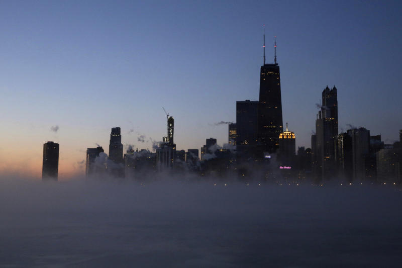 Steam rises on the surface of Lake Michigan on Jan. 30, 2019, in Chicago. (Photo: Kiichiro Sato/AP)