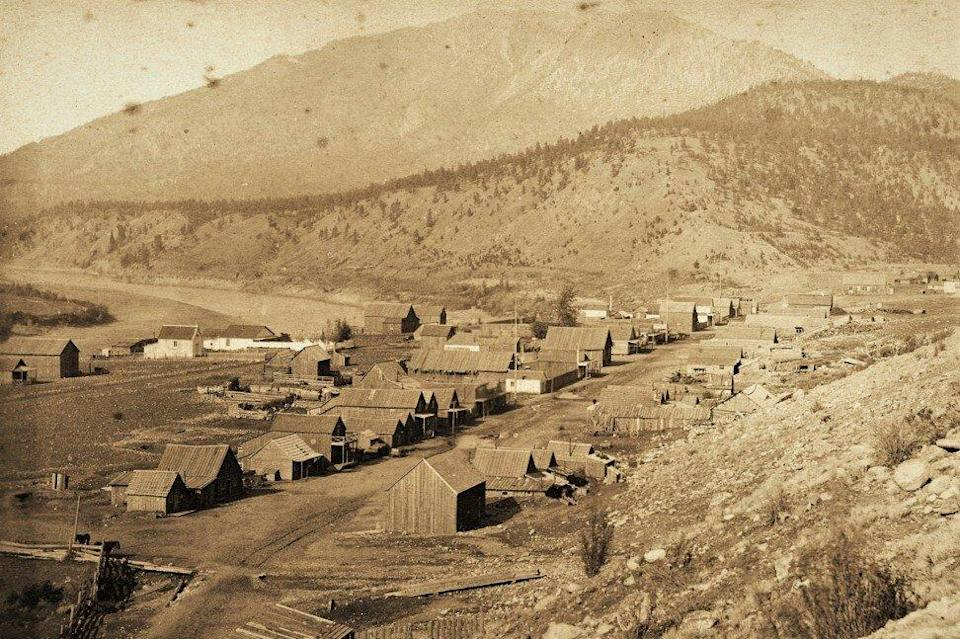 """This photo taken circa 1885 shows the village of Lytton, BC, with the Chinese temple, or """"joss house"""", front and centre. Photo: City of Vancouver Archives"""