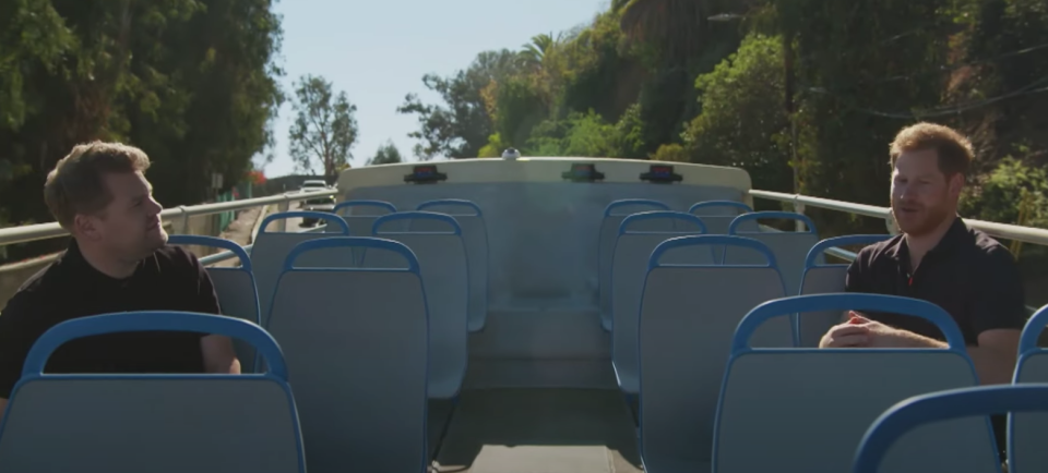Harry joined James Corden on an open bus trip around Los Angeles. (YouTube/The Late Late Show)