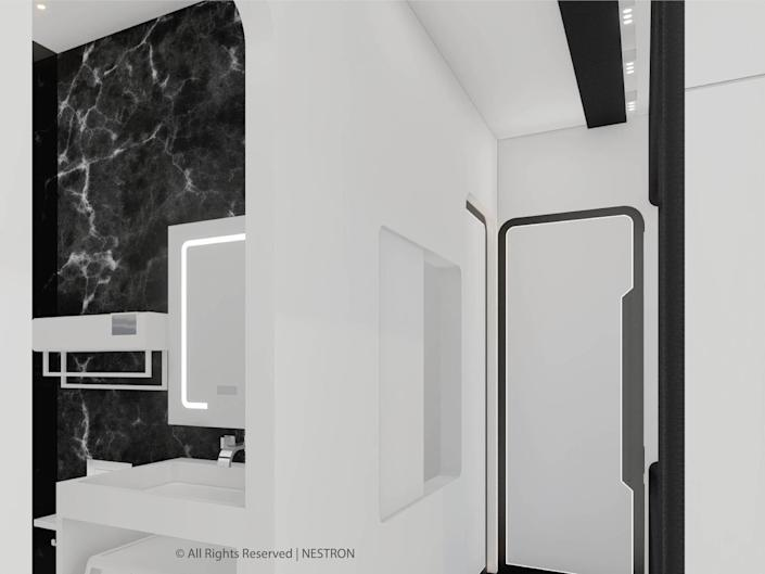 rendering of the two-bedroom Cube Two X bathroom