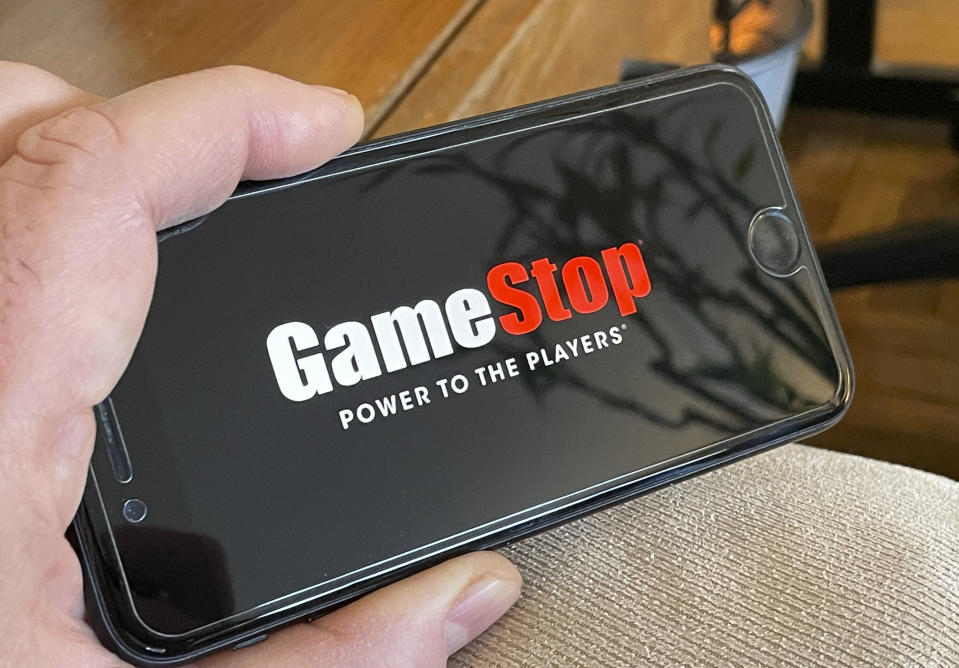 Photo by: STRF/STAR MAX/IPx 2021 1/25/21 GameStop shares double in wild trading session. STAR MAX Photo: GameStop logo photographed off an iphone SE 2020.
