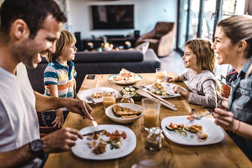 Eating together as a family is one of the things parents have enjoyed doing more of. (Getty Images)