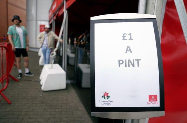 A bar at Old Trafford seeks to clear stock of beer at £1 a pint