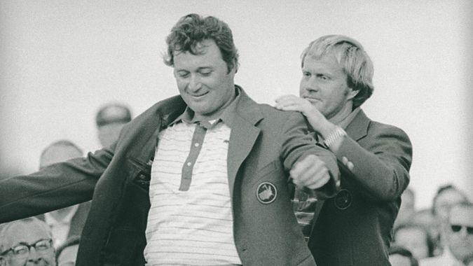 Ray Floyd Jack Nicklaus, right, assists Raymond Floyd in putting on his green jacket after Floyd won the Masters Championship at Augusta, Ga.