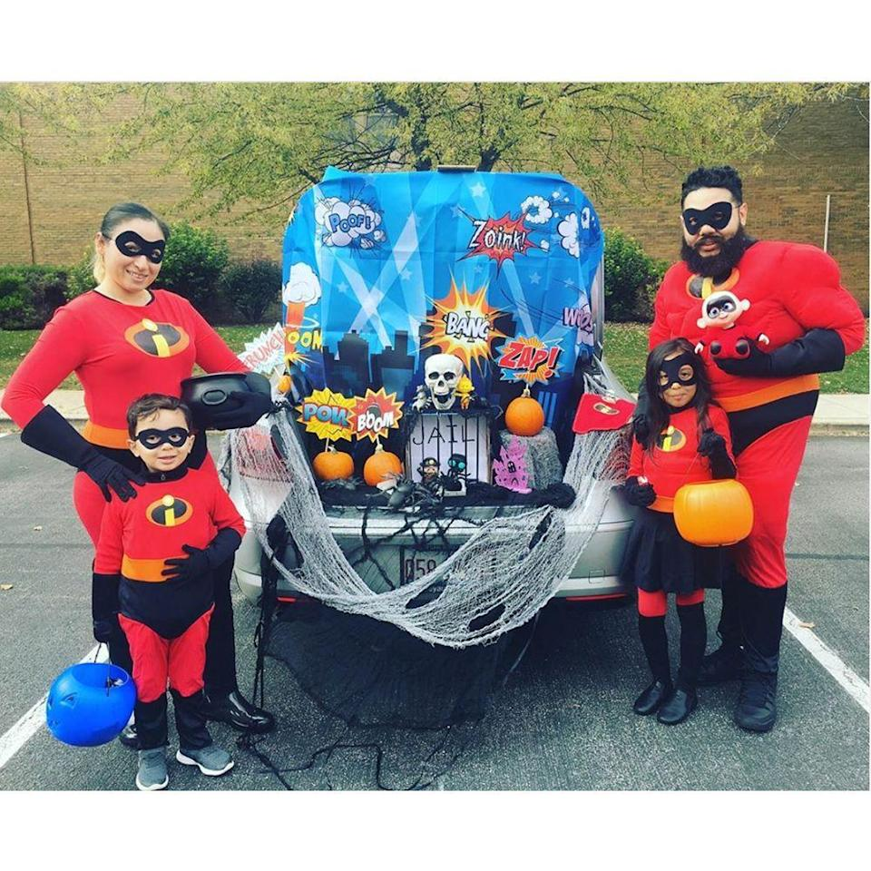 """<p>Boom! Bam! Pow! </p><p>Jump into action with this hero-themed trunk-or-treat with a Halloween twist. Whether you're dressing up as The Incredibles or another crime-fighting gang, this theme will fit right in. The <a href=""""https://www.amazon.com/AOSTAR-Halloween-Stretch-Outdoor-Decorations/dp/B075K7KGT2?tag=syn-yahoo-20&ascsubtag=%5Bartid%7C2089.g.33658548%5Bsrc%7Cyahoo-us"""" rel=""""nofollow noopener"""" target=""""_blank"""" data-ylk=""""slk:distressed spider's web"""" class=""""link rapid-noclick-resp"""">distressed spider's web</a> and <a href=""""https://www.amazon.com/Resin-Realistically-Painted-Collectible-Skull/dp/B00EHZ89AW?tag=syn-yahoo-20&ascsubtag=%5Bartid%7C2089.g.33658548%5Bsrc%7Cyahoo-us"""" rel=""""nofollow noopener"""" target=""""_blank"""" data-ylk=""""slk:skull"""" class=""""link rapid-noclick-resp"""">skull</a> give the hero theme just enough of a spooky spin. </p><p><a class=""""link rapid-noclick-resp"""" href=""""https://www.amazon.com/Superhero-Cityscape-Photography-Backdrop-Background/dp/B07GKSC2C9?tag=syn-yahoo-20&ascsubtag=%5Bartid%7C2089.g.33658548%5Bsrc%7Cyahoo-us"""" rel=""""nofollow noopener"""" target=""""_blank"""" data-ylk=""""slk:Shop Superhero Backdrop"""">Shop Superhero Backdrop</a></p>"""
