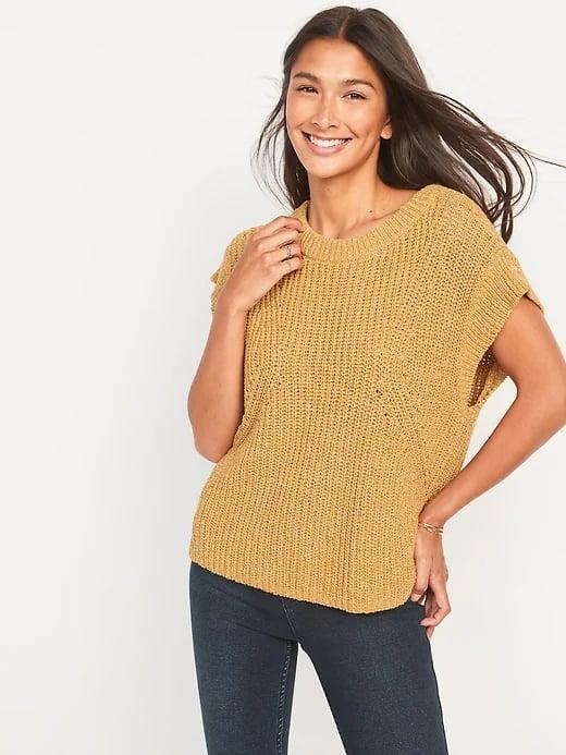<p>When it's not yet cold enough for a full-on sweater, this <span>Old Navy Lightweight Shaker-Stitch Short-Sleeve Sweater</span> ($24, originally $35) looks lovely solo with jeans, shorts, or a skirt instead. </p>