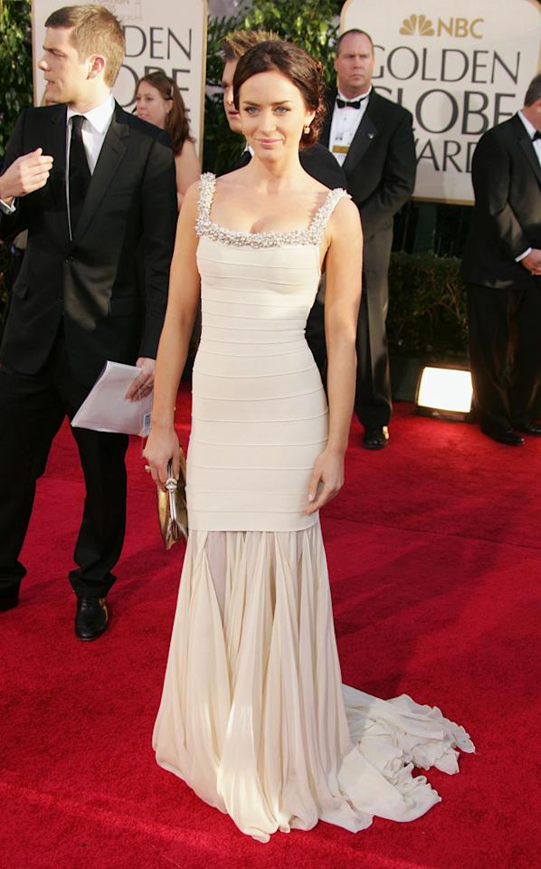 "Emily Blunt had no qualms about revealing her undergarment secrets on the red carpet at the 2007 Golden Globe Awards - ""I'm wearing a full body SPANX – I love it!"""