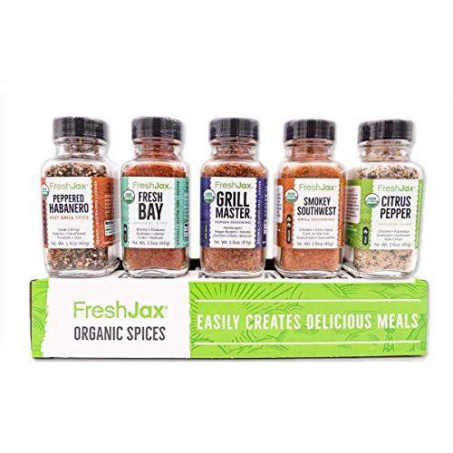 """<p><strong>FreshJax</strong></p><p>amazon.com</p><p><strong>$21.24</strong></p><p><a href=""""https://www.amazon.com/dp/B00XCY3FJY?tag=syn-yahoo-20&ascsubtag=%5Bartid%7C1782.g.4175%5Bsrc%7Cyahoo-us"""" rel=""""nofollow noopener"""" target=""""_blank"""" data-ylk=""""slk:BUY NOW"""" class=""""link rapid-noclick-resp"""">BUY NOW</a></p><p>Grills spices should always be stocked in your pantry, and these come in flavors like fresh bay, peppered habanero, and citrus pepper.</p>"""