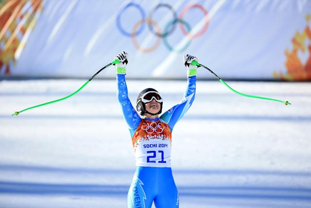 SOCHI, RUSSIA - FEBRUARY 12: Tina Maze of Slovenia reacts after her run during the Alpine Skiing Women's Downhill on day 5 of the Sochi 2014 Winter Olympics at Rosa Khutor Alpine Center on February 12, 2014 in Sochi, Russia. (Photo by Richard Heathcote/Getty Images)